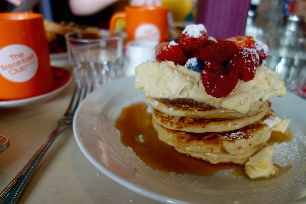 The Breakfast club is probably one of the most popular places in London for breakfast and brunch. They do all day breakfast classics like huge stacks of pancakes and full English breakfast and some other British favourites. More on www.notsobasiclondon.com