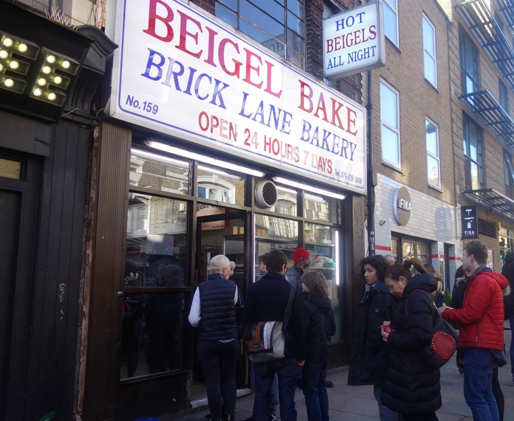 Beigel Bake on Brick Lane is London's oldest bagel shop. It' open 24 hours a day 7 days a week and is home to their famous salt beef bagel with gherkins and mustard. A must place to go if your visiting London. More on www.notsobasiclondon.com