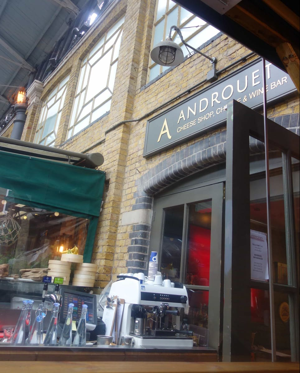 Androuet in Spitalfields Market is a cheese lovers dream. They do these boards, sandwiches and the most amazing fondue with all the trimmings! More cheesy photos on www.notsobasiclondon.com