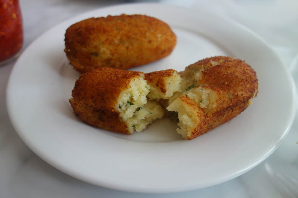 Potatoe and Mozzerella Croquettes at Theo's Pizza, Camberwell