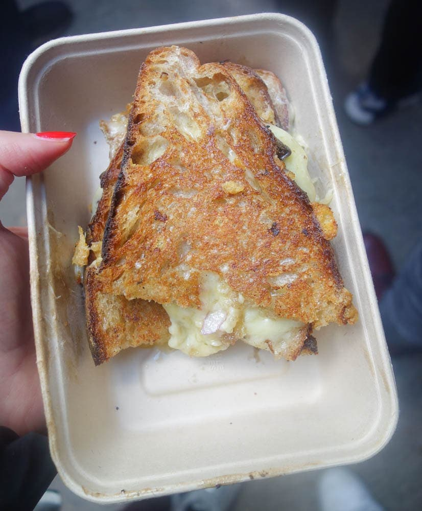 The Cheese Truck is one of THE most popular stalls in Maltby Street Market serving epic grilled cheese sandwiches. More on this and more food at Maltby Market on www.notsobasiclondon.com