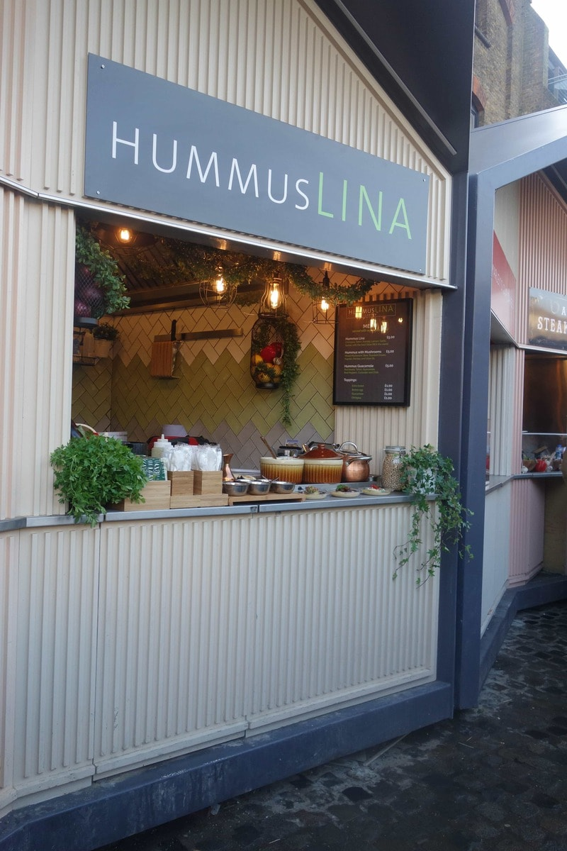 Hummuslina are a healthy food stall in Camden Market doing gourmet bowls of hummus. More on www.notsobasiclondon.com