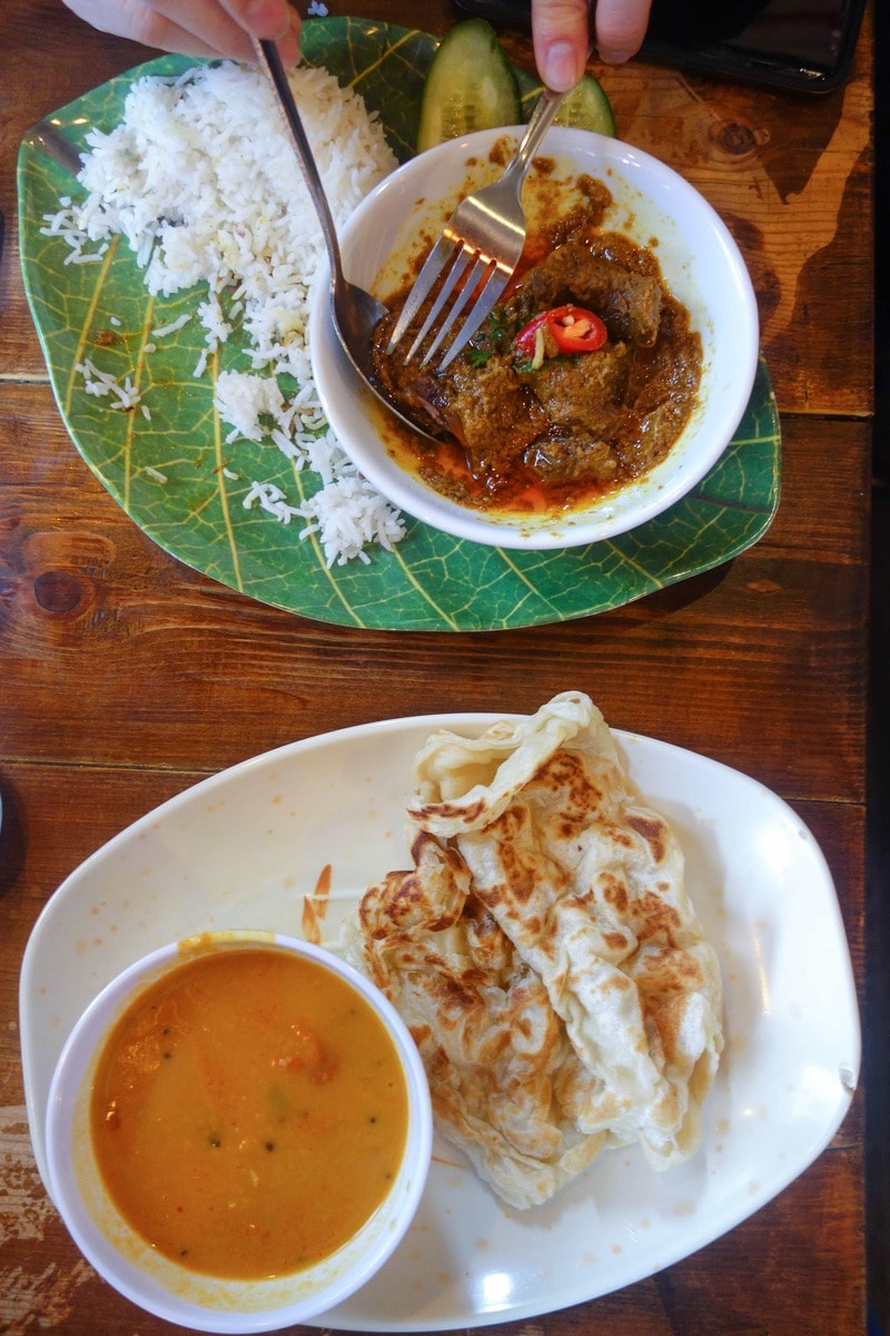 Roti canal and beef rendang, Roti King - One of November's London Food Finds. Check em' all out on notsobasiclondon.com