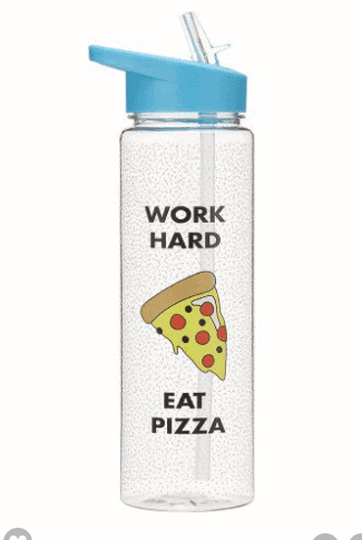 Pizza water bottle with straw