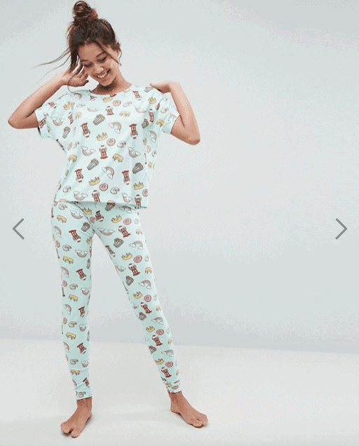 ASOS Allover Food Print Tee & Legging Pyjama Set