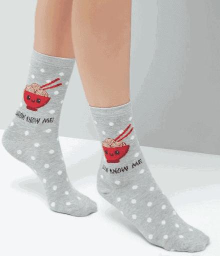 New Look Grey 'Udont know me' Slogan Food Pattern Socks