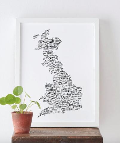 British Food Map print