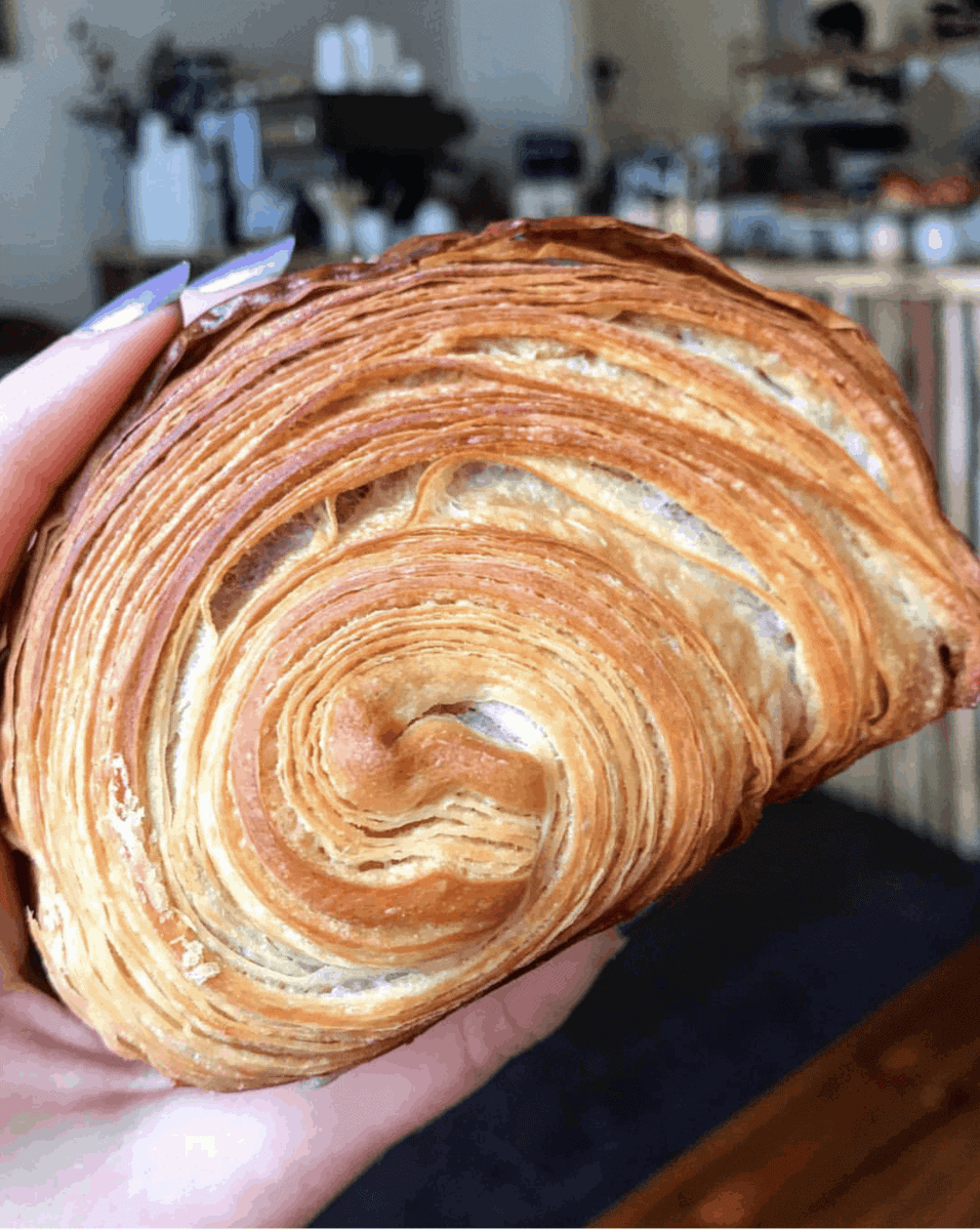 Pain au chocolate at Pophams Bakery - One of April's London Food Finds (2018). Check out the whole list on notsobasiclondon.com