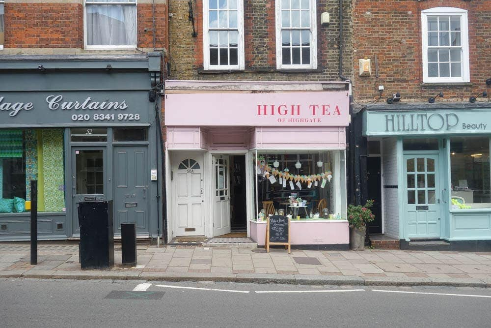 High tea of Highgate is a beautiful tea shop in Highgate, North London. As well as cakes and pastries they do an afternoon tea of scones cream and jam with a cup of tea for just £6.95. Lots more photos on www.notsobasiclondon.com