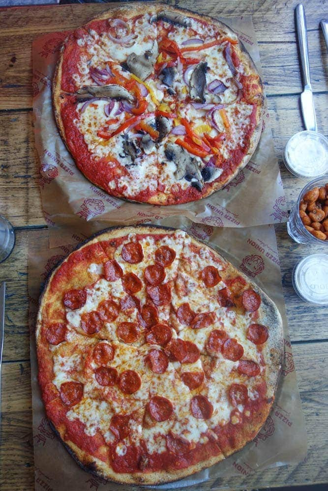 "Pizza Union is the home to the super quick, super cheap, super DELICIOUS 12"" thin base pizza. From just £3.95 there are 16 choices on the menu and Nutella pizza for dessert. More details on notsobasiclondon.com"