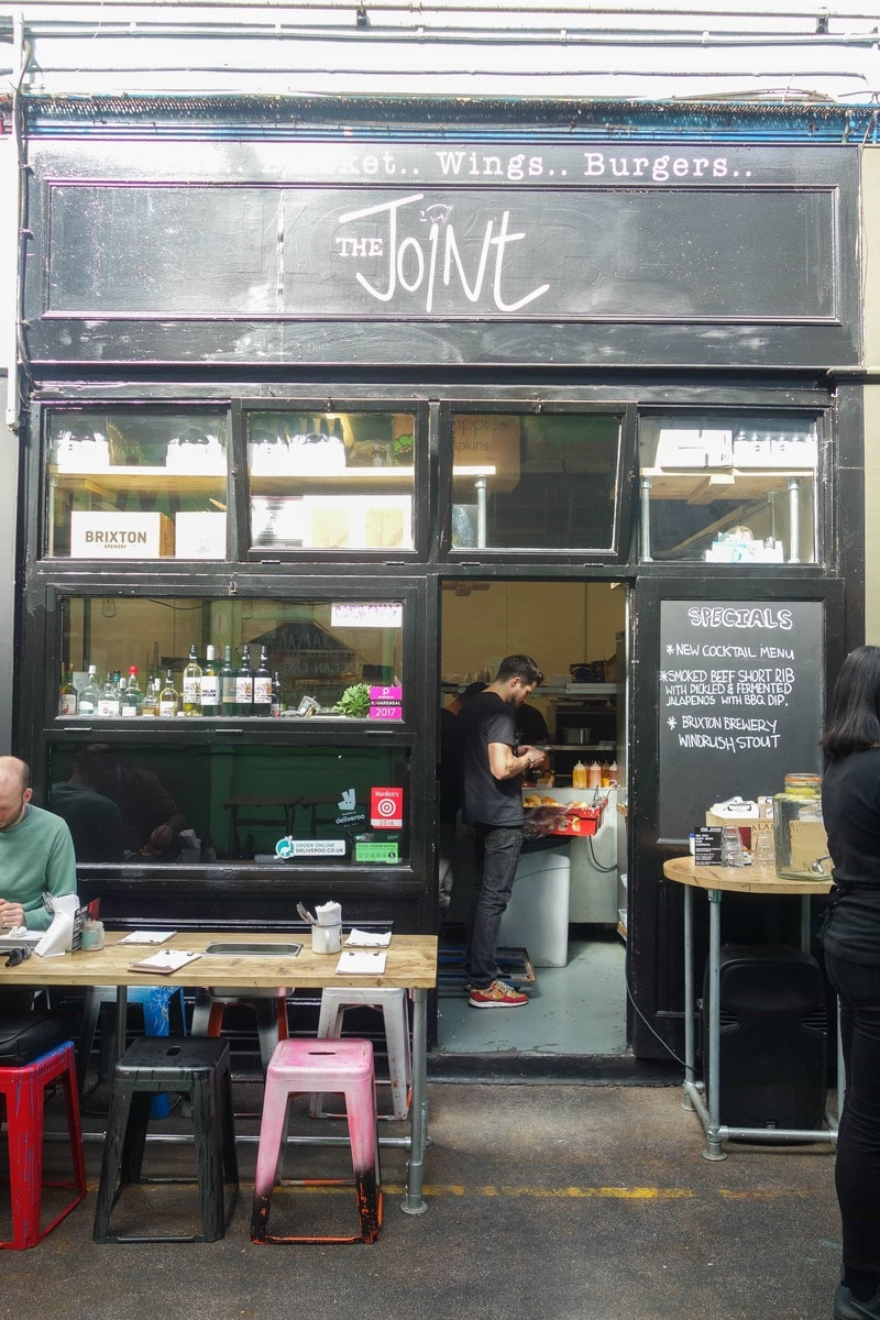 The Joint in Brixton is a tiny place serving big flavours. Home to 16 hour slow cooked pulled pork, massive onion rings and local beer. A real London gem. More on notsobasiclondon.com