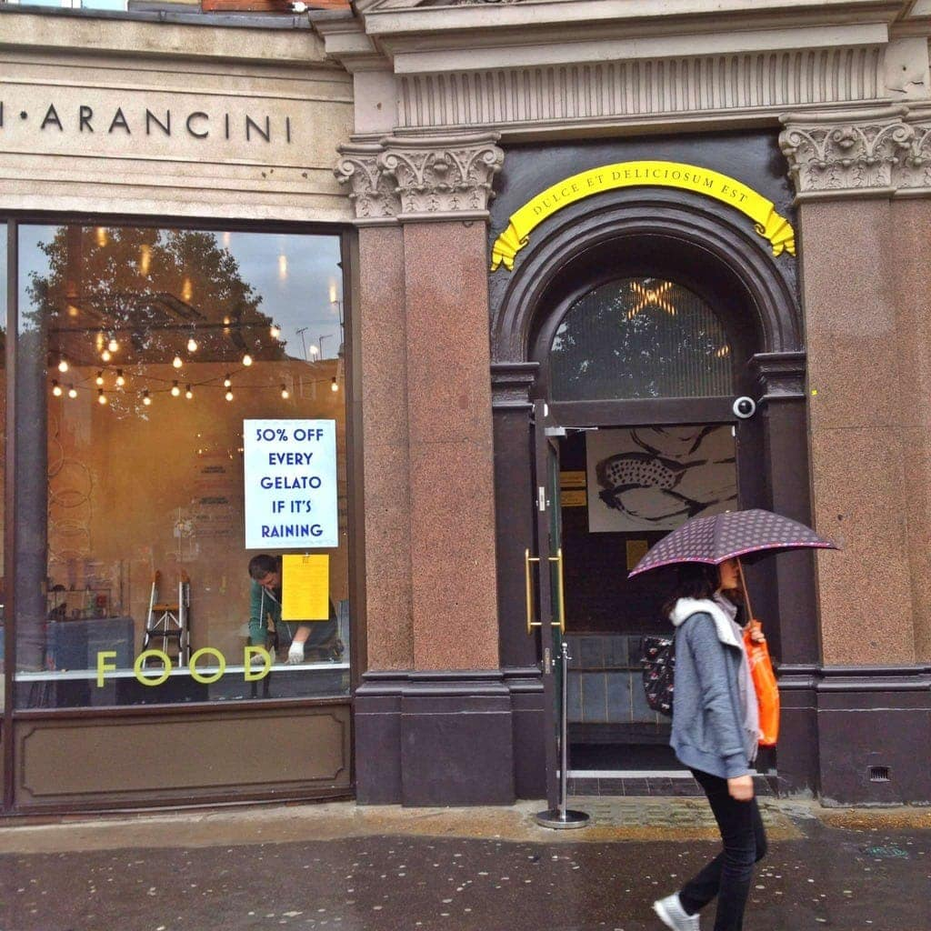 Top Tips For Dining Out In London (Photo of woman holding an umbrella outside a shop)