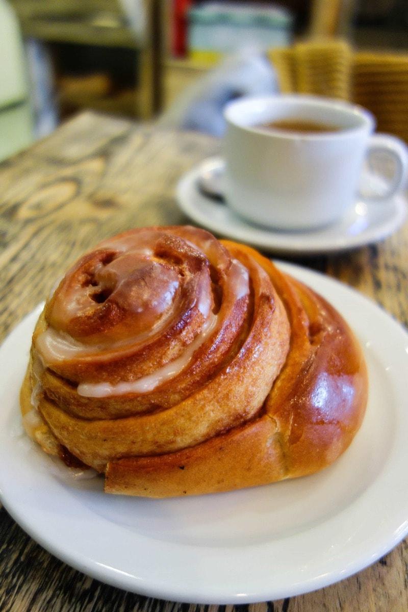 London's Best Cinnamon Buns (Image of a cinnamon bun from Karma Bread)