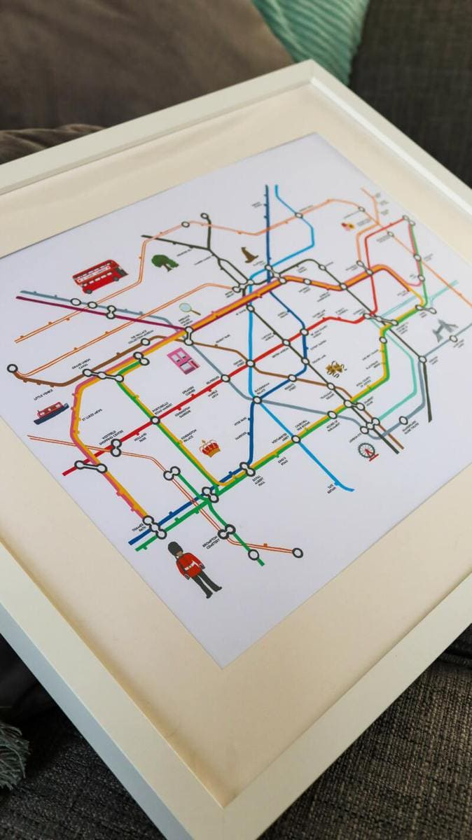 32 London Themed Gift Ideas (Picture of a London tube map print)