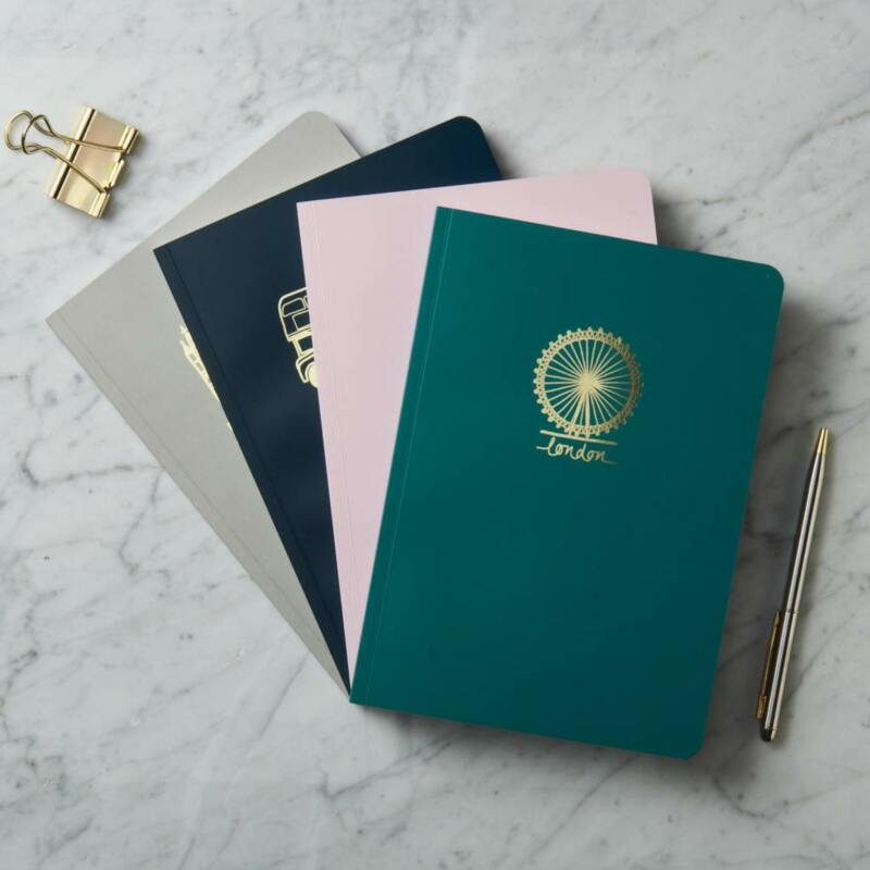 32 London Themed Gift Ideas (Picture of a personalised London notebook)