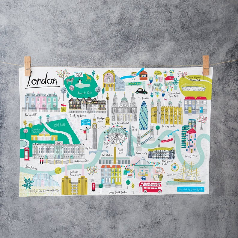 32 London Themed Gift Ideas (Picture of a London themed tea towel)