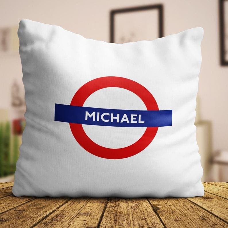 32 London Themed Gift Ideas (Picture of a personalised London underground cushion)