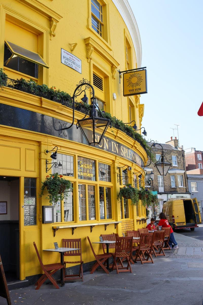 Self Guided London Walking Tour Of Notting Hill (Image of colourful pub in Notting Hill)