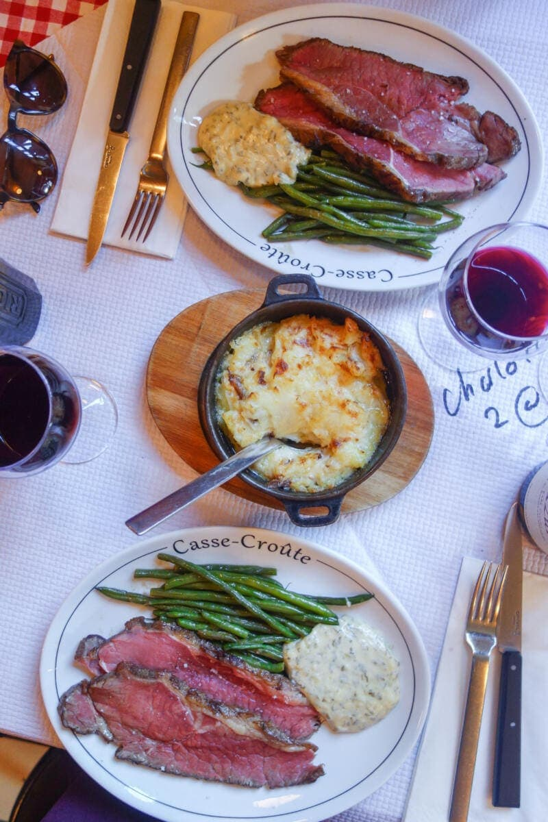 Best Places to Eat in London for First Time Visitors (Image of dinner at Casse Croute)