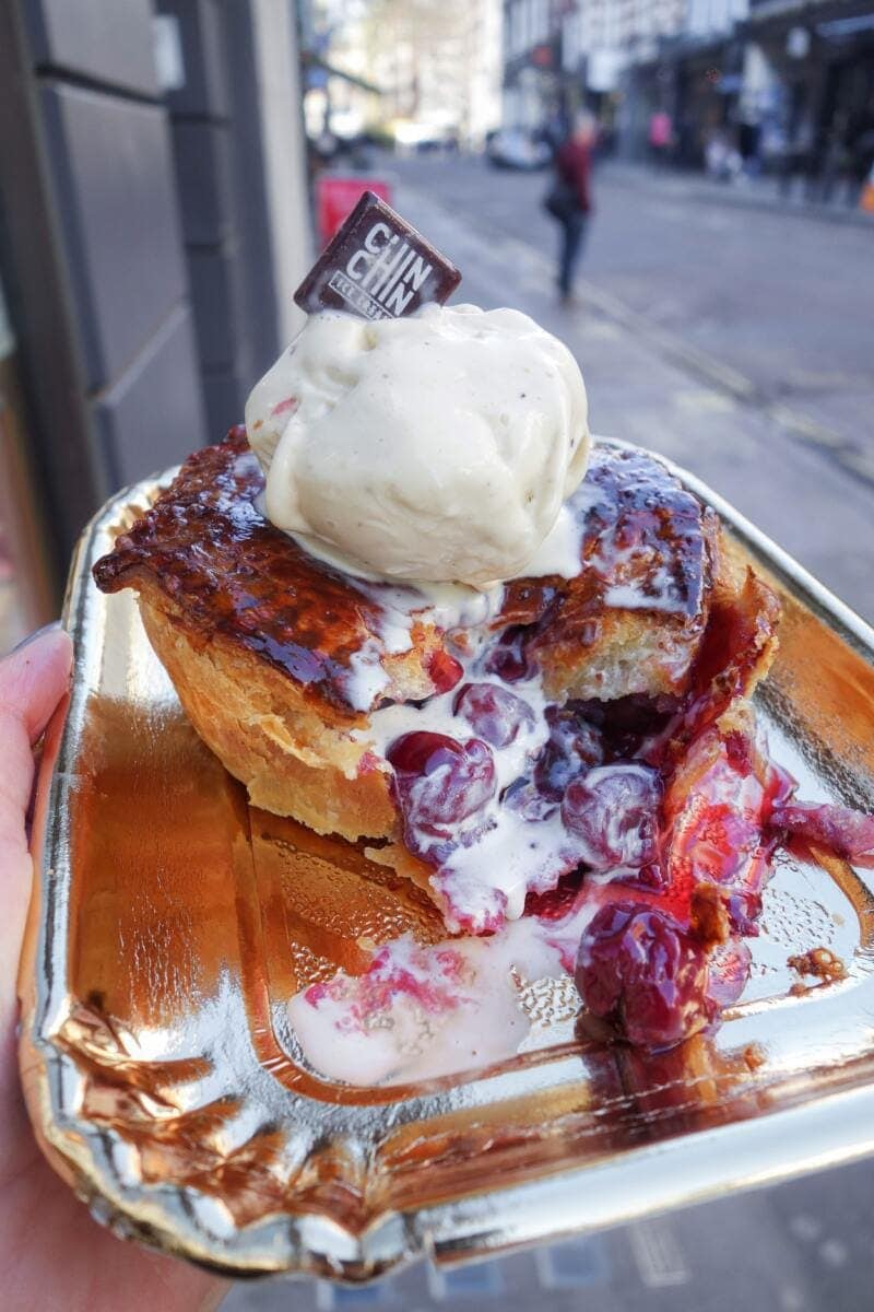 Best Places to Eat in London for First Time Visitors (Image of cherry pie at Chin Chin Labs)