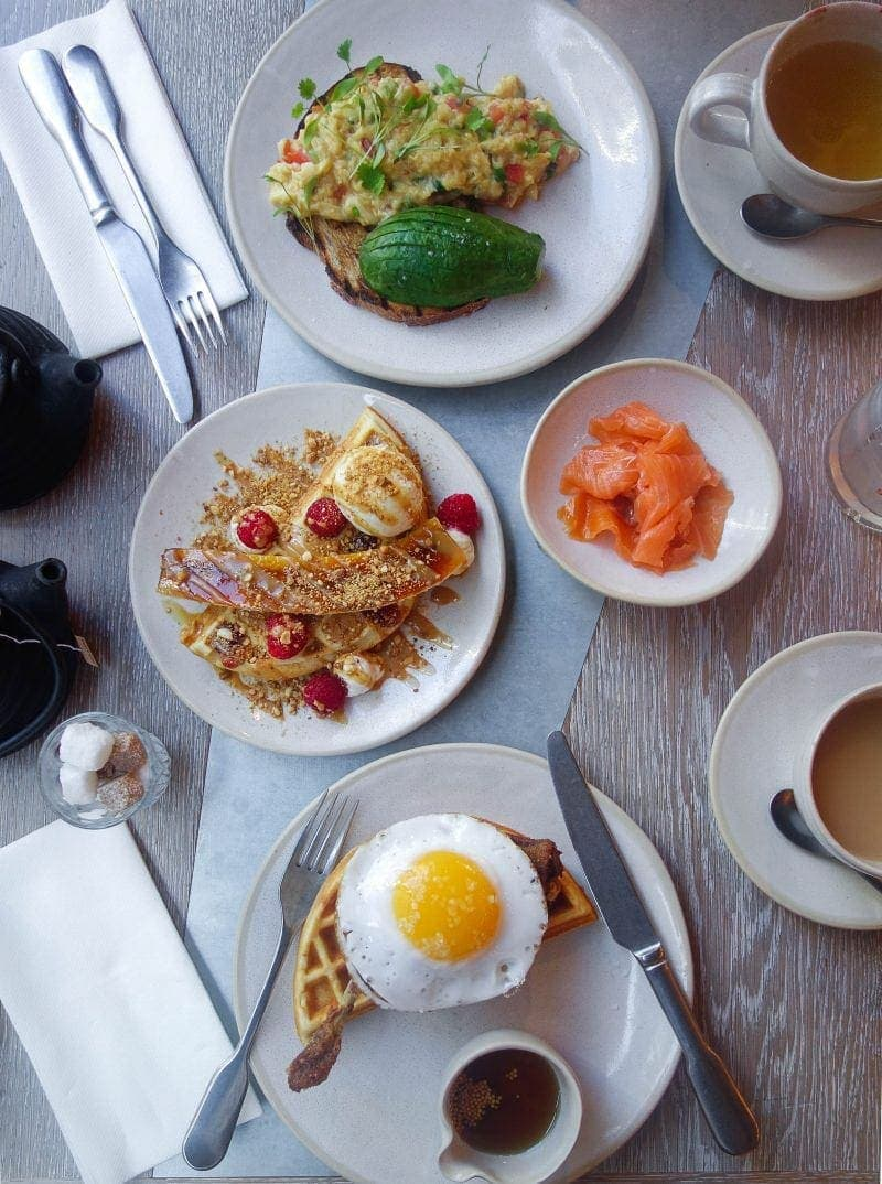 Best Places to Eat in London for First Time Visitors (Image of breakfast at Duck & Waffle)