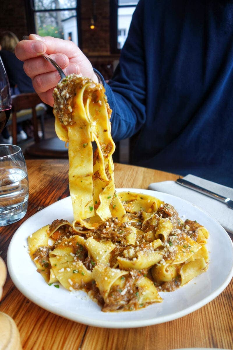 Best Places to Eat in London for First Time Visitors (Image of pasta at Flour & Grape)