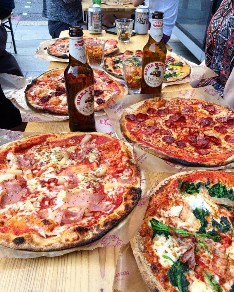 Best Places to Eat in London for First Time Visitors (Image of pizza at Pizza Union)
