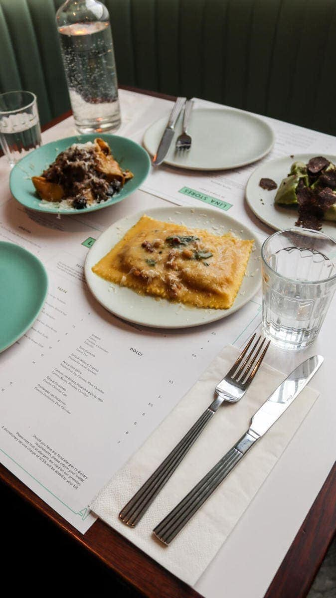 London's Best Restaurants To Dine Alone (Image of pasta at Lina Stores)
