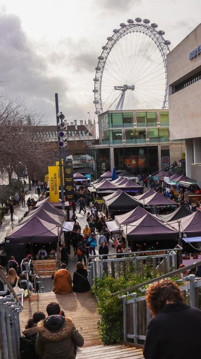 London's Best Restaurants To Dine Alone (Image of Southbank food market)