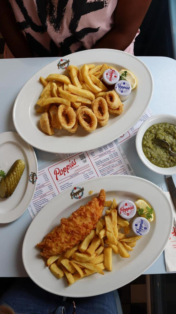 Best Places to Eat in London for First Time Visitors (Image of fish & chips at Poppies)