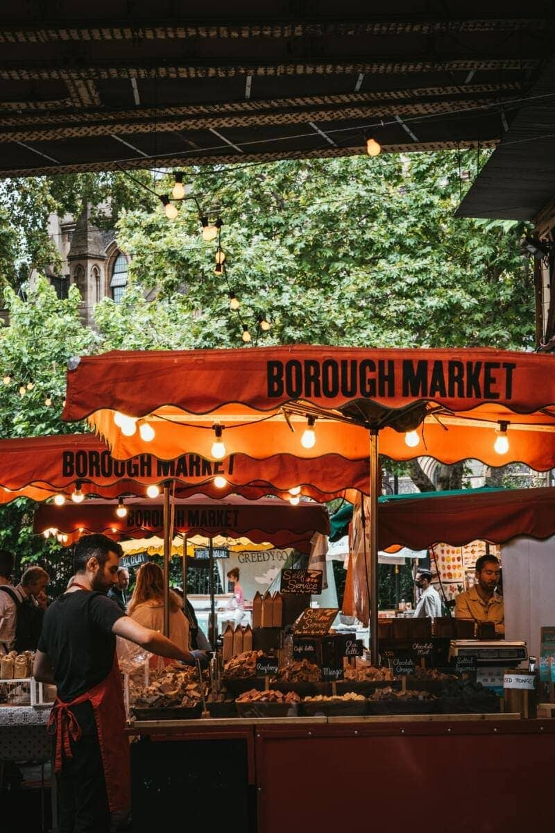 Best Places to Eat in London for First Time Visitors (Image of Borough Market)