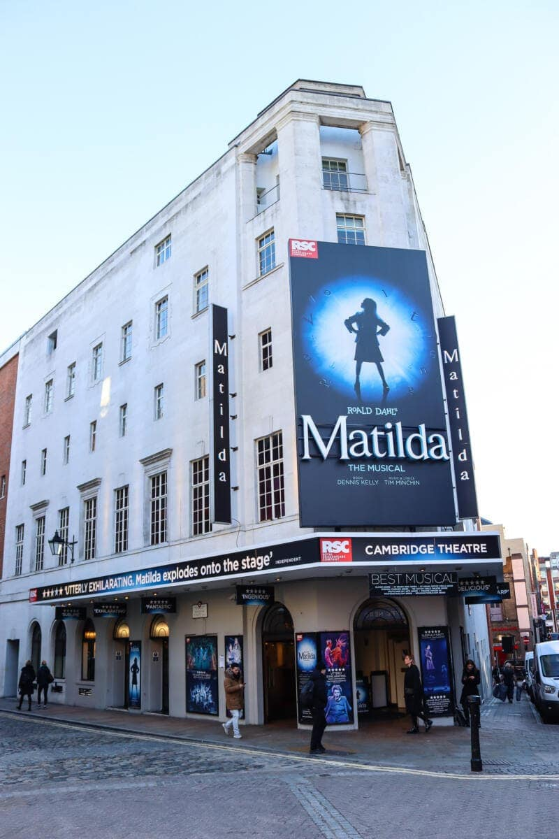 50 Fun Things To Do With Kids In London (Image of the Cambridge Theatre - Matilda)